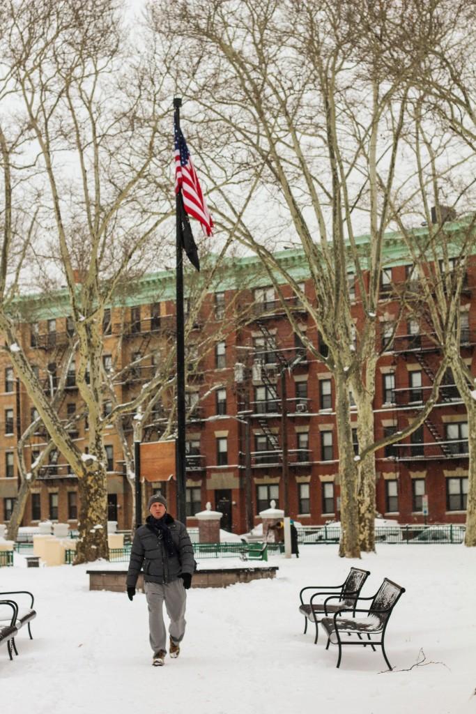 HobokenParkFlagSnow